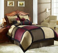 7-Piece Micro Suede Patchwork Comforter Set Brown/Burgundy/Black King