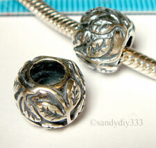 1x OXIDIZED STERLING SILVER FOCAL EUROPEAN LEAF ROUND BRACELET CHARM BEAD #1357