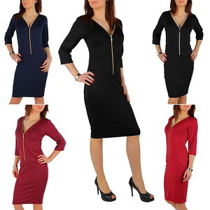 NEW Georgeous Dress with Zipper in Front 3/4 Sleeve V Neck Wiggle Pencil FK01