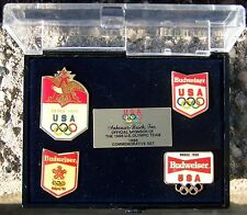 Budweiser Anheuser Busch 1988 Commemorative US Olympic Pin Set Seoul/Calgary