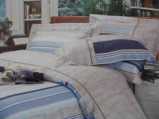Teens Cotton Queen Size Navy Blue &Beige Duvet Cover Set Stripe Tan Sky Blue 3PC