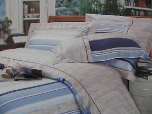 Cotton Queen Size Navy Blue &Beige Fitted Sheet Set Stripe Tan