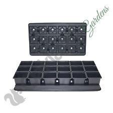 9cm Square Plant Pots + Carry Trays   90 Pots + 5 Trays   Black Plastic