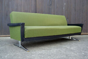 60er MidCentury Sofa Daybed Retro Couch Chrom Kufen Schlafsofa Vintage Danish
