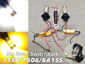 NO ERROR WHITE AMBER Switchback LED FRONT Turn Signal Bulb DRL 1156 BA15S W1 JAE