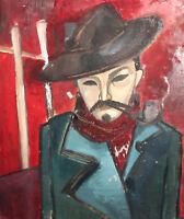 Vintage modernist oil painting man portrait