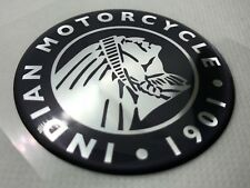Indian Motorcycle Head Logo Badge 3D Domed Sticker. Silver Black. 60mm diam.