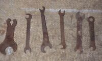 6 Vintage Old Mechanics Ignition Wrenches Offset Open End & Box End