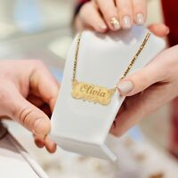 TINA&CO PERSONALIZED 14K GOLD PLATED NAME PLATE NECKLACE 14 STYLES NAME NECKLACE