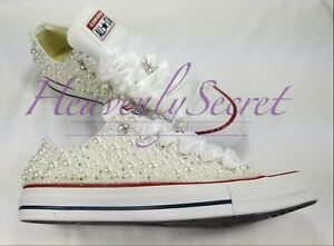 Custom Blinged White Low Top Converse Bridal Shoe ** Wedding Sneaker ** Pearls