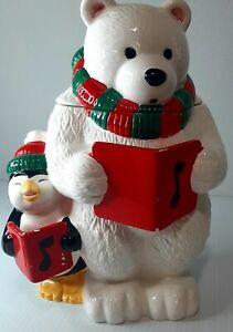 Cookie Jar ~ Holiday Christmas Ceramic Polar Bear ~ Hand Painted ~ The Cellar