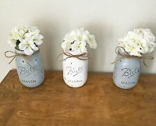 3 SET PINT PAINTED MASON JARS DISTRESSED SHABBY RUSTIC HOME WEDDING VASE DECOR