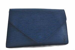 Authentic Louis Vuitton Epi Arts Deco Clutch Bag Blue M52635 LV D0225