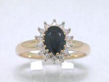 Saphir Ring 1,1ct 585 Gelbgold 14Kt Gold  natürlicher Saphir 14 Diamanten