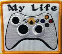 """MY LIFE"" XBOX CONTROLLER Iron-On Patch Morale Funny Emblem Gold  Border"