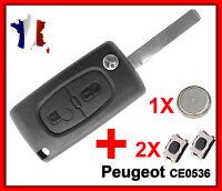 Coque PLIP Télécommande Clé Peugeot 107 207 307 407 2 Bouton +Switch Pile CE0536
