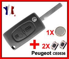 Coque PLIP Télécommande Clé Peugeot 107 207 307 308 2 Bouton +Switch Pile CE0536