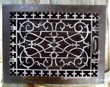 ANTIQUE Floor GRILLE CAST IRON VICTORIAN 15x12 w/ LOUVERS Grate HEAT REGISTER