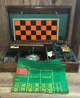 Vintage Bakelite Wooden Casino Gaming Set Chess Roulette Dominoes Checkers RARE
