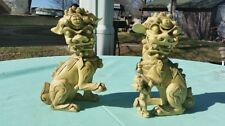 "USED BEIGE PAIR OF WHAT-NOTS FOO DOG CHINEESE LION DRAGON GUARDIANS 4-1/2"" TALL"