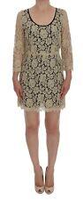 Dolce & Gabbana Dress Beige Floral Lace Short Mini Shift It46 / Us12