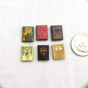 JANE AUSTEN Book Set of 6 Dollhouse Miniature 1:24 Scale Illustrated Books