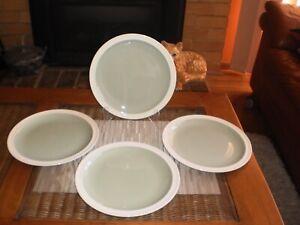 VINTAGE  ENGLISH WEDGWOOD OF ETRURIA &  BARLASTON GREEN DINNER PLATES-SET OF 4