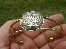 Real Israel coin 10 Agorot holy land Jewish bracelet cuff adjustable gold plate