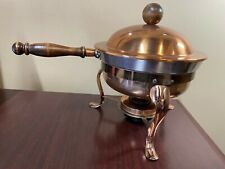 Vintage Copper Chafing Dish Serving Tray Pan Stand Burner Fondue Lid Saucer
