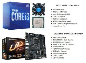 INTEL i3-10100 4-Cores/8-Threads 3.6GHz CPU + GIGABYTE B460M DS3H MOBO Combo