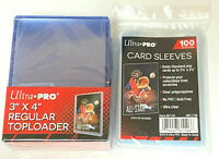 (25)Ultra-Pro Toploads Standard Hard Card Holders +(100) standard soft sleeves