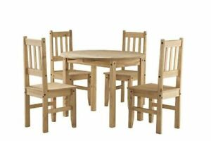 Corona Drop Leaf Butterfly Dining Set Table With 4 Chairs In Pine