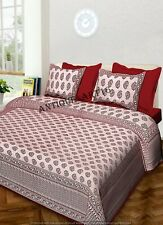 Handmade Red Indian Super King Size Cotton Bed Sheet Cover with 2 Pillowcase Set