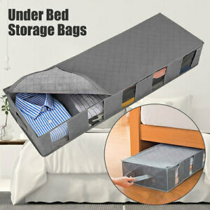 2/1pcs Under Bed Storage Bag Containers Clothes Box Underbed Organizer Non-Woven