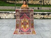VINTAGE 3x5 TURKISH TRIBAL RUG OUSHAK, LOW PILE WOOL DECOR HANDMADE RUG RUNNER