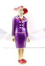 """Purple Suit Enamel Rhinestone Brooch Pin #19 W) 2.75"""" Red Hat Society woman Lady"""