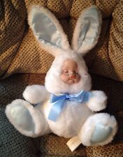 House Of Lloyd Vtg Porcelain Baby Face Bunny Plush 1992 Wind Up Musical Moveable