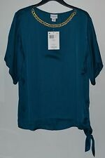 NWT Jaclyn Smith Autumn Classics Group Top,Size Large,Blue-green, Faux Gold trim
