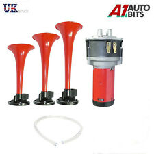 12V Triple Trumpet Air Horn Compressor Kit Super Loud Train Car Truck Boat 150db