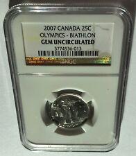 2007 CANADA NGC GEM UNCIRCULATED OLYMPICS-BIATHLON 25C!!!