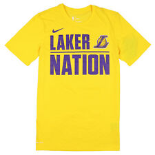 NIKE Los Angeles Lakers Laker Nation T-Shirt Medium Yellow Purple Basketball NBA