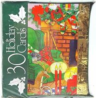 Christmas Holiday Cards Cozy Home Fireplace Mantel Stockings Gold Accent 30ct