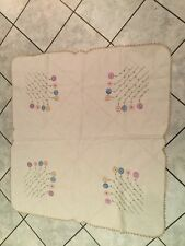 TABLE CLOTH Hand Embroidered & Crochet Tea Supper Topper Vintage Shabby Chic