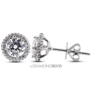 3.52ct tw E SI1 Round Cut Earth Mined Certified Diamonds 18K Gold Halo Earrings