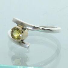 Yellow Mali Garnet Handtooled Silver Solitary 18K Gold Bezel Ladies Ring size 7