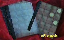Pages for coin album for 20 coins 35x40mm medium 50p £2 £1 Type 20 x 5 pages