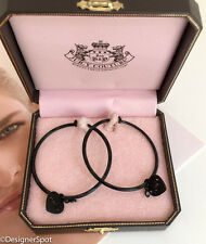 "$58 Brand New, Vintage, Rare Juicy Couture Black 2"" Hoop Drop Earrings with Box"