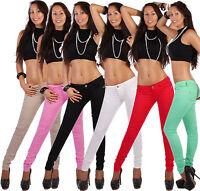 B41 Damen Jeans Stoff Hose Röhre Röhrenjeans farben bunt stretch skinny slim