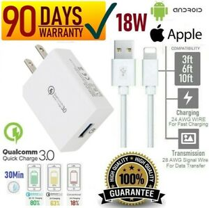 18W Qualcomm QC3.0 Certified Fast Wall Charger for iPhone X,XR,XS,11,Samsung [Q2