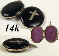 Antique Victorian 14k Mourning Locket, Seed Pearl Cross & Black Enamel, Pendant